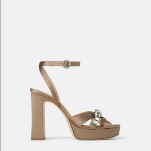 NWT Zara Taupe Jeweled Sandals